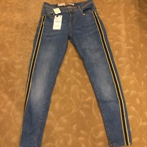 Zara Blue Jeans with Black and Yellow Stripes